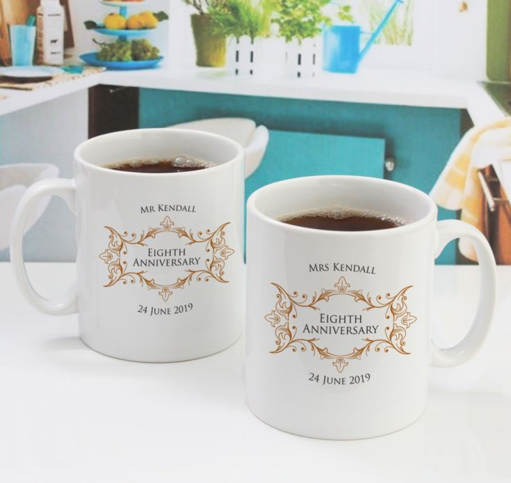 Pair of Personalised Eighth Anniversary Mugs product image