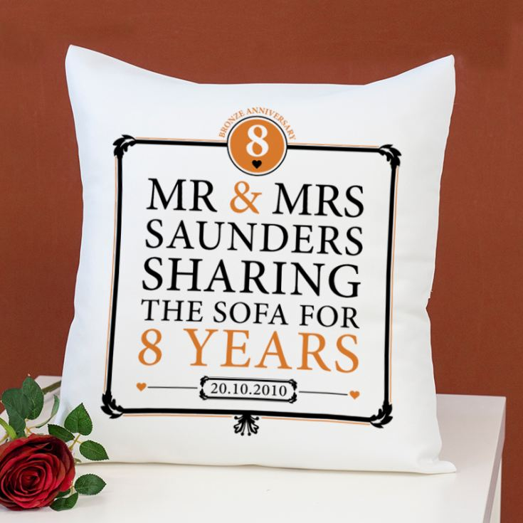 Personalised 8th Anniversary Sharing The Sofa Cushion product image