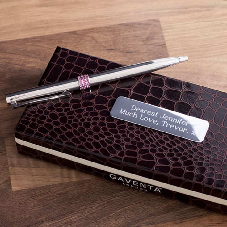 Silver Plated And Pink Crystal Pen In Personalised Gift Box product image