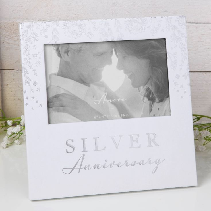 "6"" x 4"" - Amore Paperwrap Photo Frame - Silver Anniversary product image"