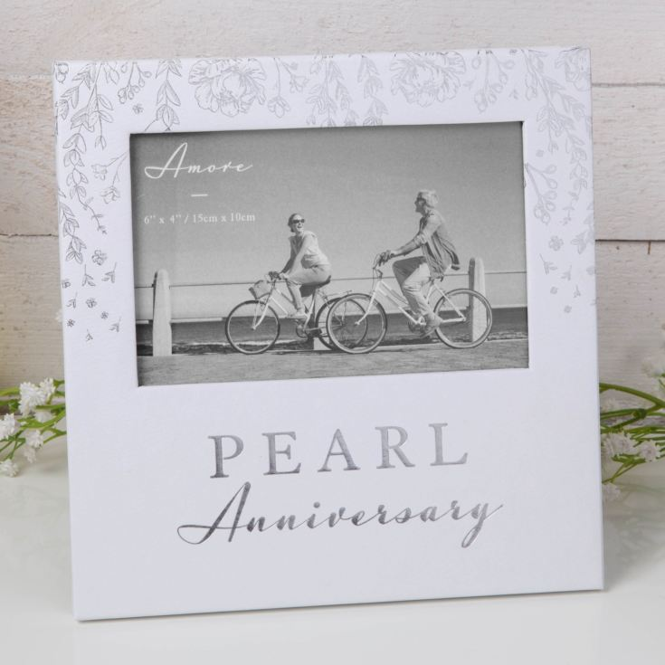 "6"" x 4"" - AMORE BY JULIANA® Photo Frame - Pearl Anniversary product image"