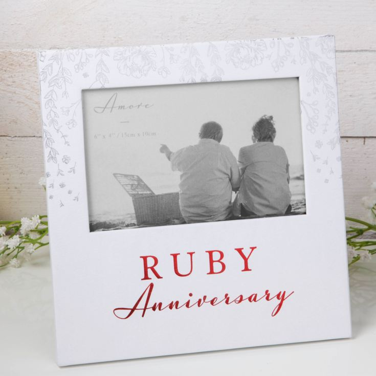 "6"" x 4"" - AMORE BY JULIANA® Photo Frame - Ruby Anniversary product image"