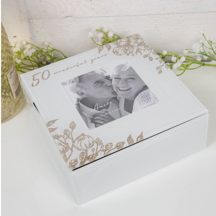 AMORE BY JULIANA® 50 Years Glass Trinket Box with Frame product image