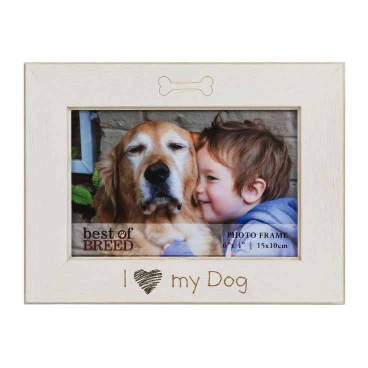 "6"" x 4"" - Best of Breed Ivory Photo Frame - I Love My Dog product image"
