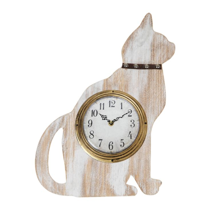 Whitewashed Wood Cat Shaped Wall Clock 48cm product image