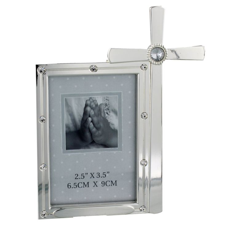 "2.5"" x 3.5"" - Silver Plated Photo Frame with Crystal - Cross product image"