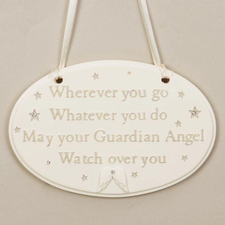 Bambino Guardian Angel Watching Over You Hanging Plaque product image