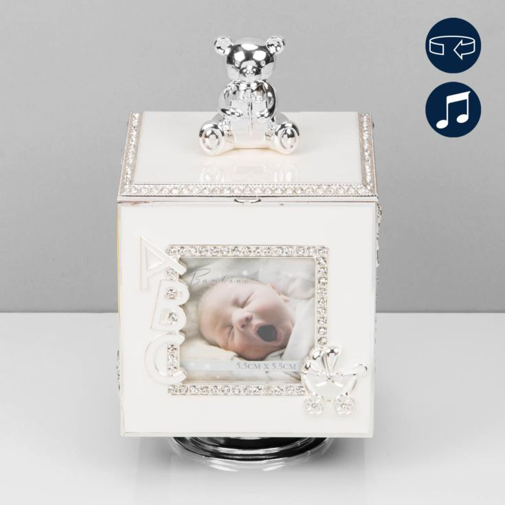 Bambino Baby Silver Plated Rotating Photo Frame Music Box product image