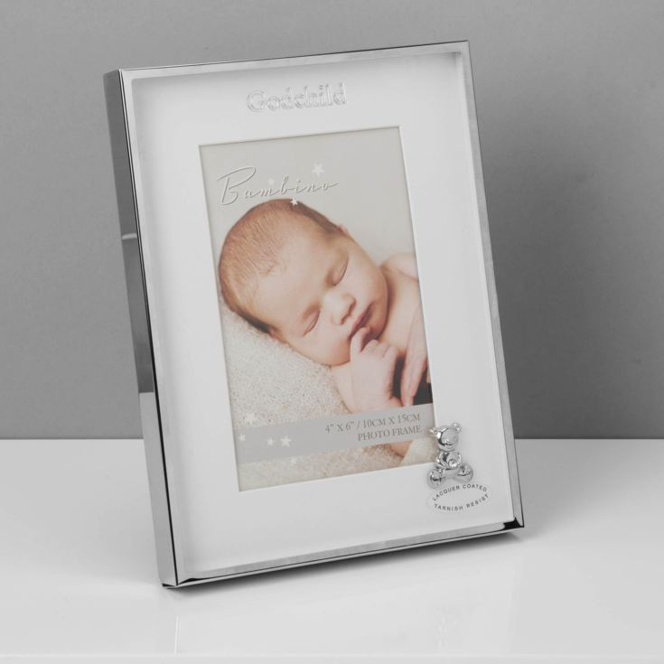 "4"" x 6"" - Bambino Silver Plated Frame with Teddy - Godchild product image"
