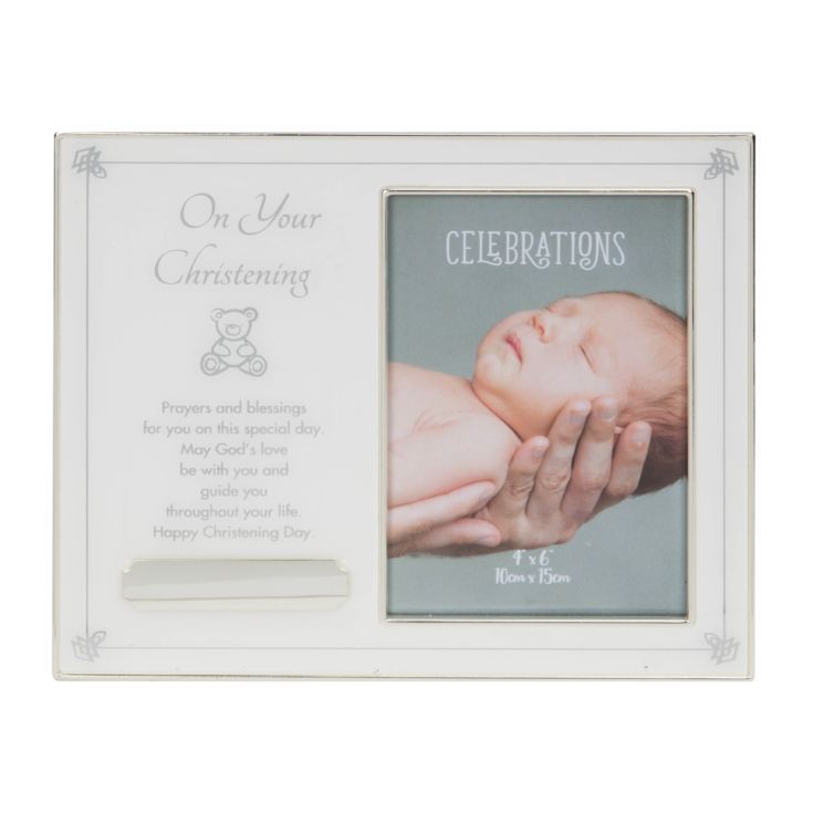 "4"" x 6"" - Christening Photo Frame with Engraving Plate product image"