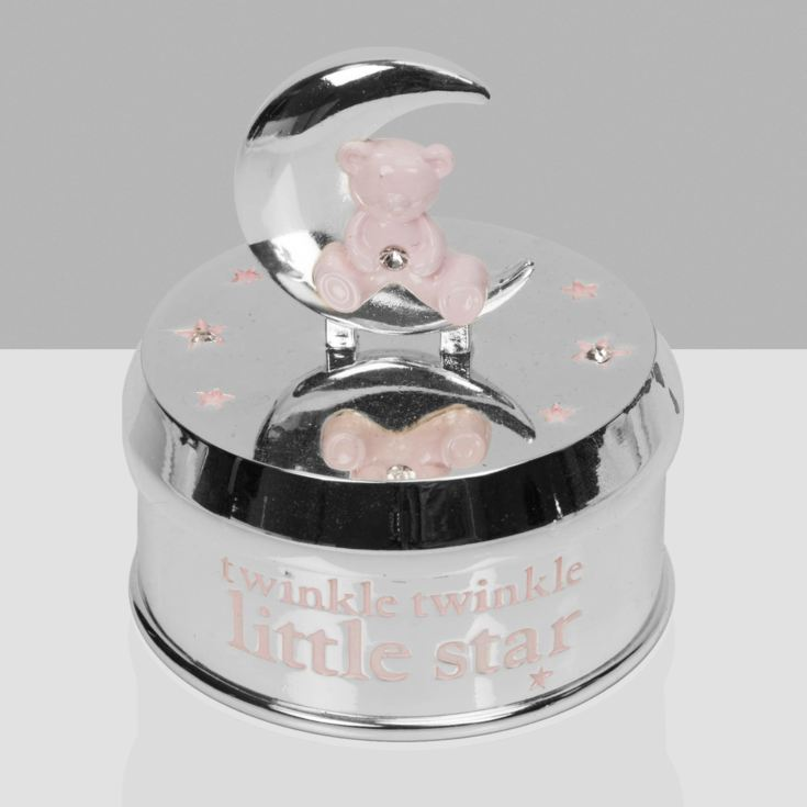 Bambino Silver Plated Musical Bear in Moon - Pink product image