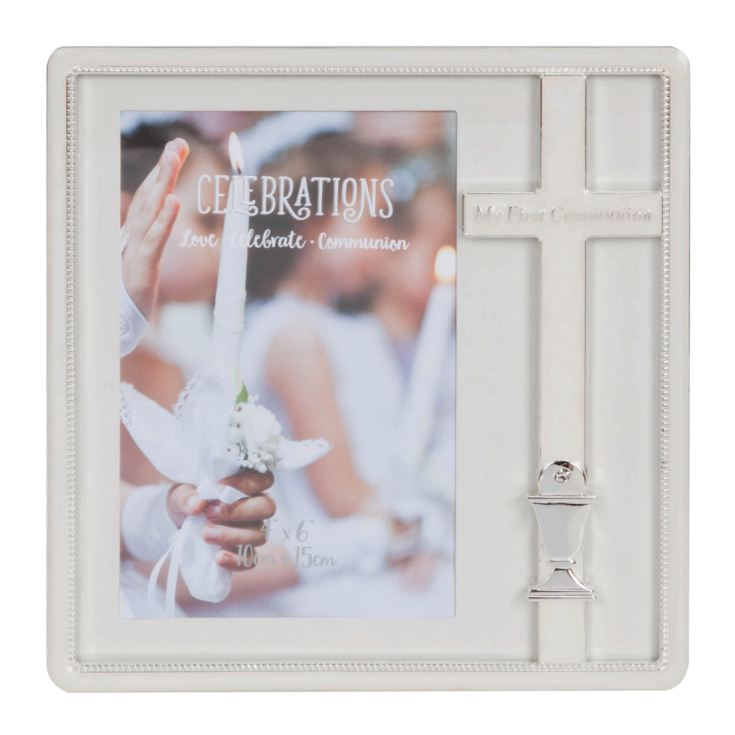"4"" x 6"" - Silver Plated & Epoxy Cross Frame - Communion product image"