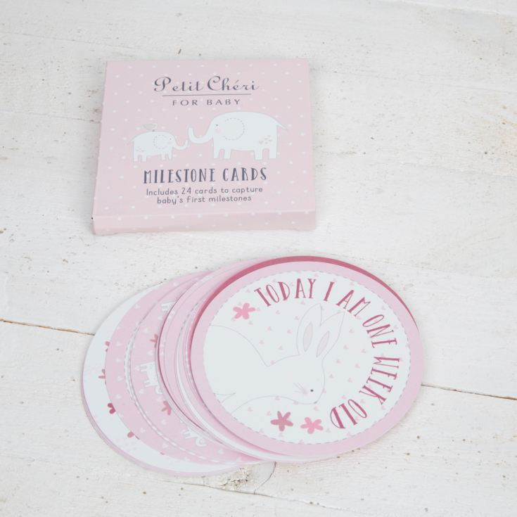 Petit Cheri Set of 24 Milestones Cards - Pink product image