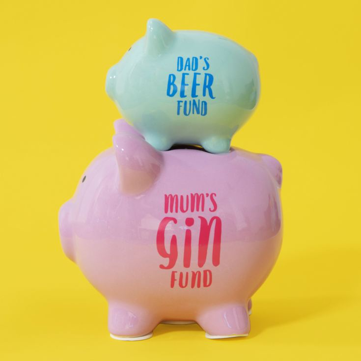 Pennies & Dreams Double Piggy Bank - Dad's Beer & Mum's Gin product image