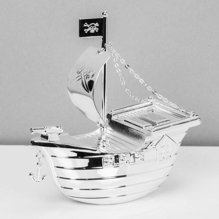 Pirate Ship Moneybox Christening Gift Silver Plated Bambino CG273