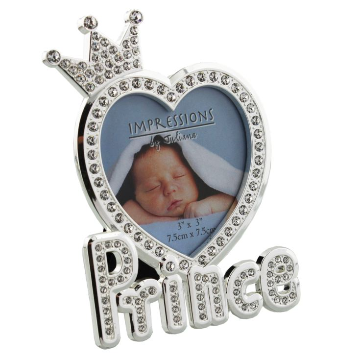 "3"" x 3"" - Silver Plated & Crystal Prince Photo Frame product image"