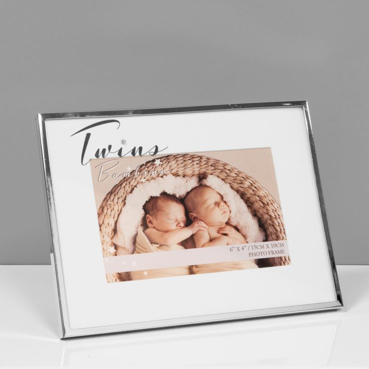"6"" x 4"" - Bambino Silver Plated Photo Frame - Twins product image"