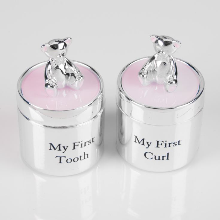 Bambino Silver Plated First Tooth & Curl Box Set - Pink product image