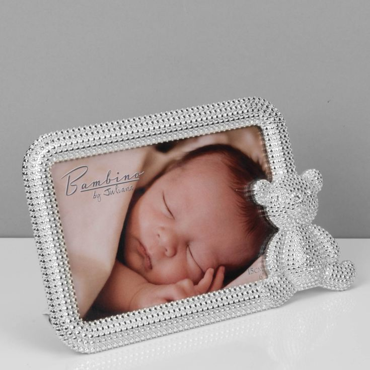 "6"" x 4"" - Bambino Silver Plated Crystal Teddy Photo Frame product image"
