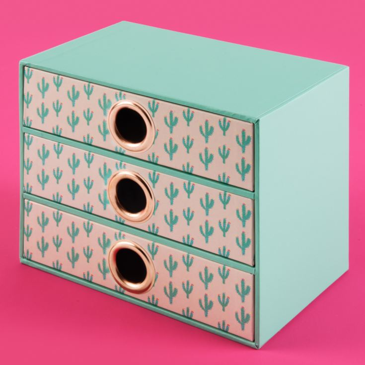 Bouffants & Broken Hearts Desk Cactus Print Storage Drawers product image