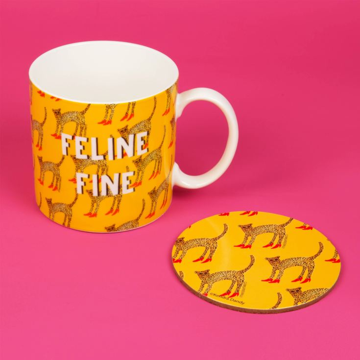 Cheetah Feline Fine New Bone China Mug & Coaster Set 11oz product image