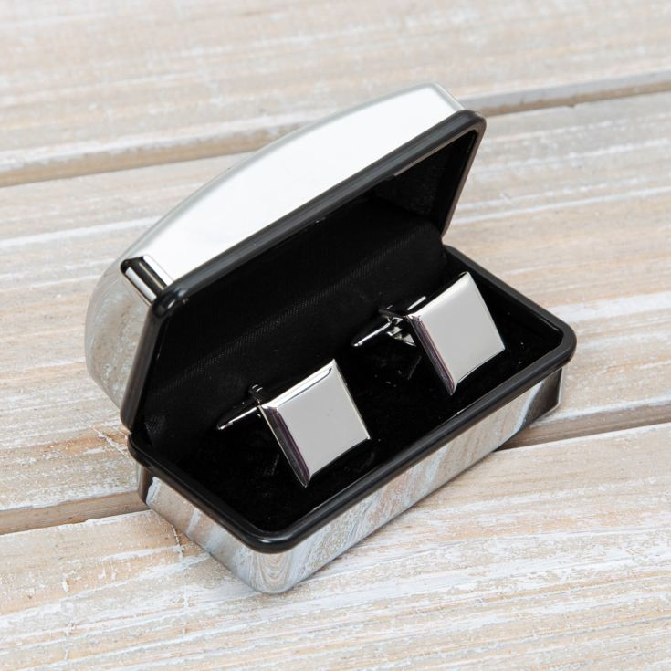 Harevy Makin Plain Square Cufflinks in Engravable Box product image