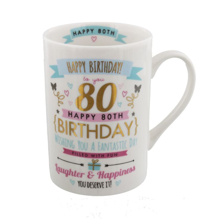 Signography Pink & Gold 80th Birthday Mug product image
