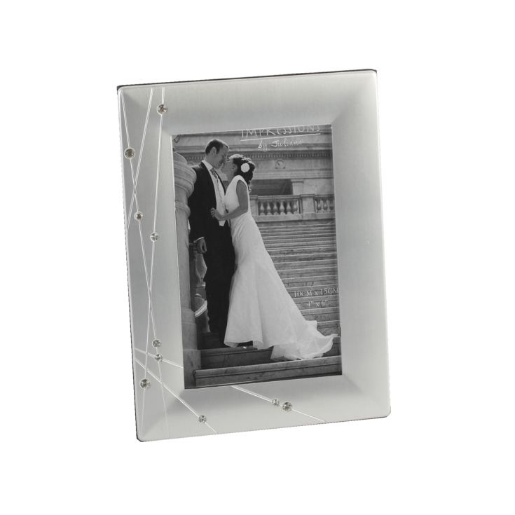 "4"" x 6"" - Crystal Finished Satin Aluminium Photo Frame product image"