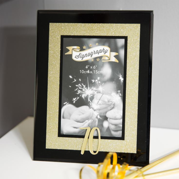 "4"" x 6"" - Signography Gold Glitter Glass Frame - 70 product image"