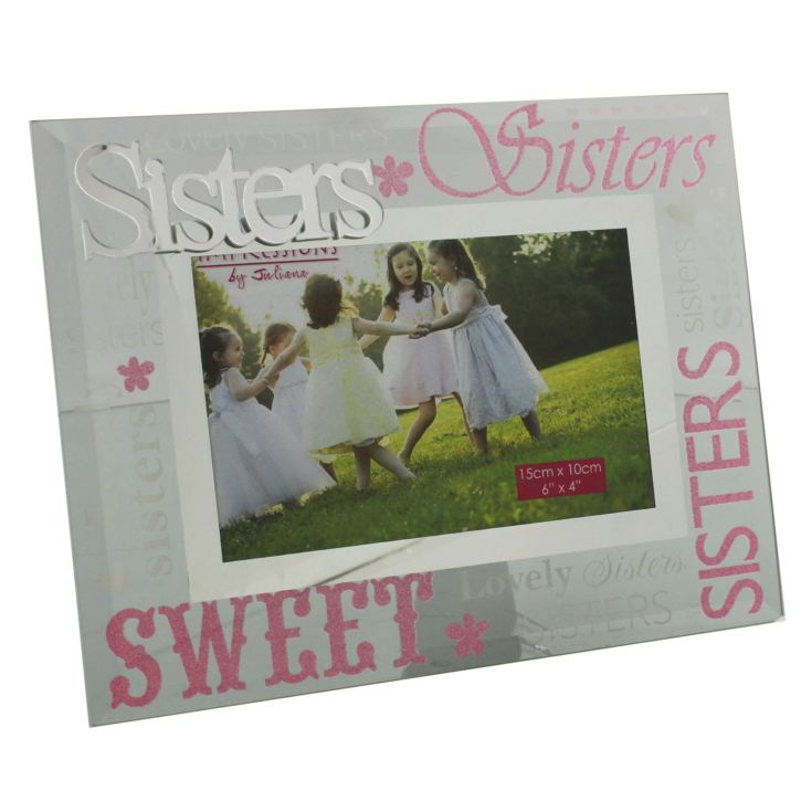 "6"" x 4"" - Celebrations Mirrored Glass Photo Frame - Sisters product image"