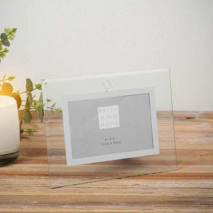 "Faith & Hope Glass Photo Frame with Star of David - 6"" x 4"" product image"