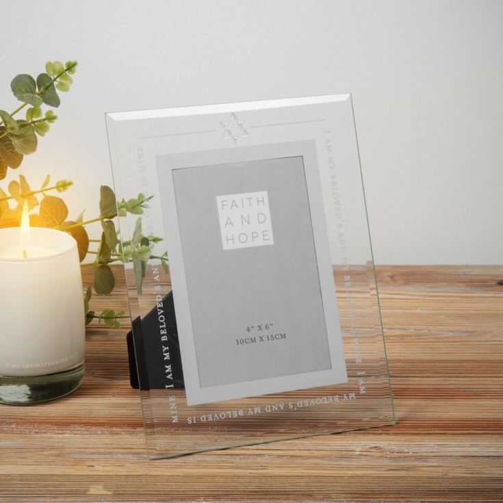 "Faith & Hope Glass Song of Songs Photo Frame - 4"" x 6"" product image"
