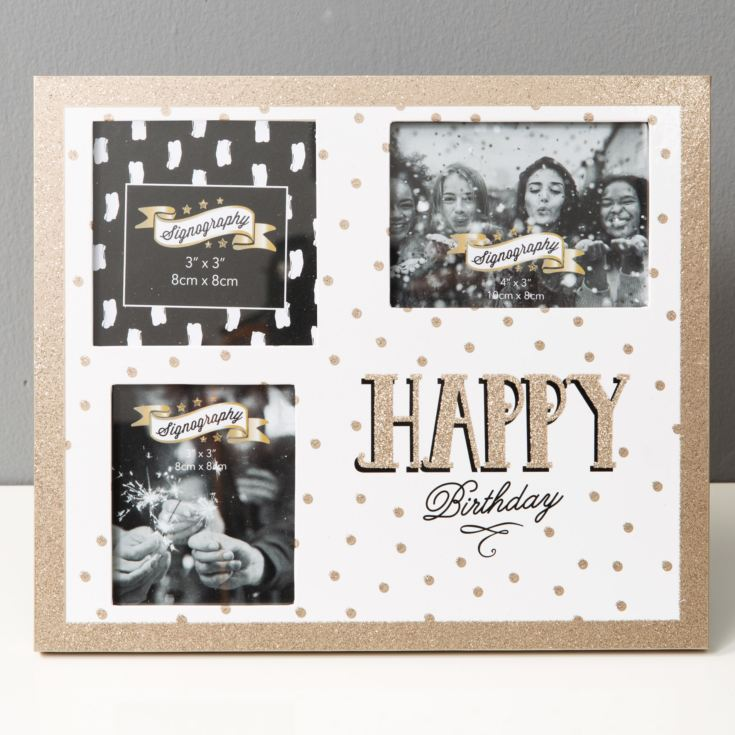 Signography Glitter 3 Aperture Frame - Happy Birthday product image