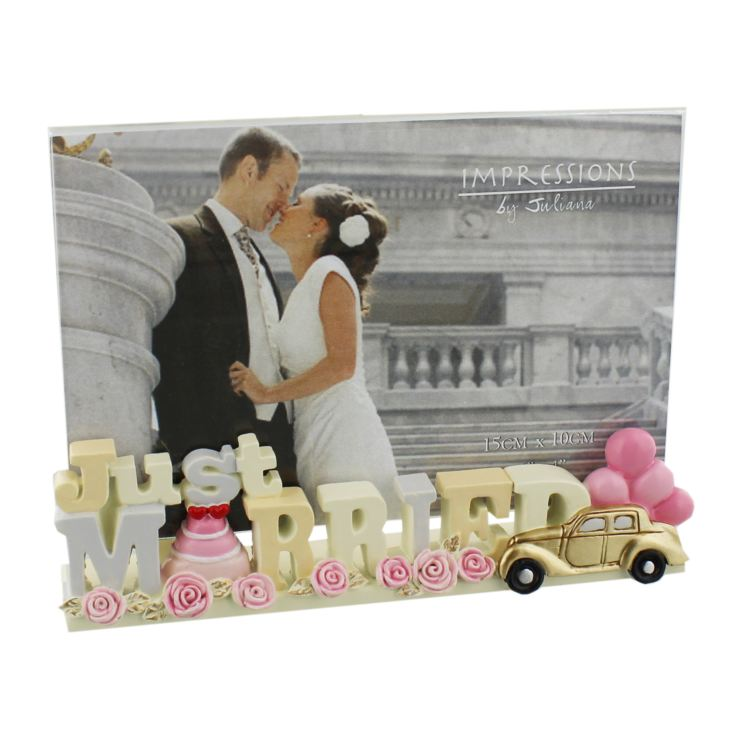 "6"" x 4"" - Resin Lettering Photo Frame - Just Married product image"