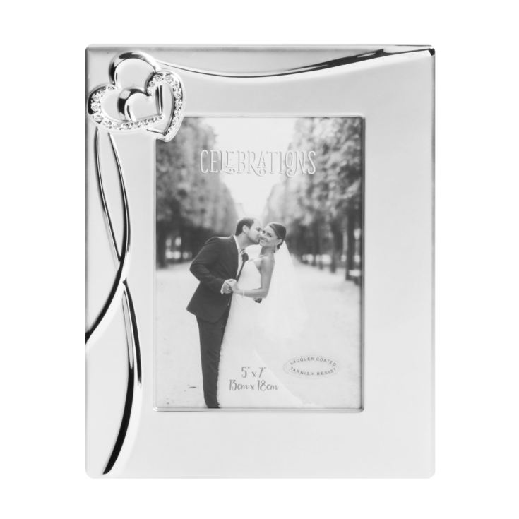 "5"" x 7"" - Silver Plated Hearts Photo Frame with Crystals product image"