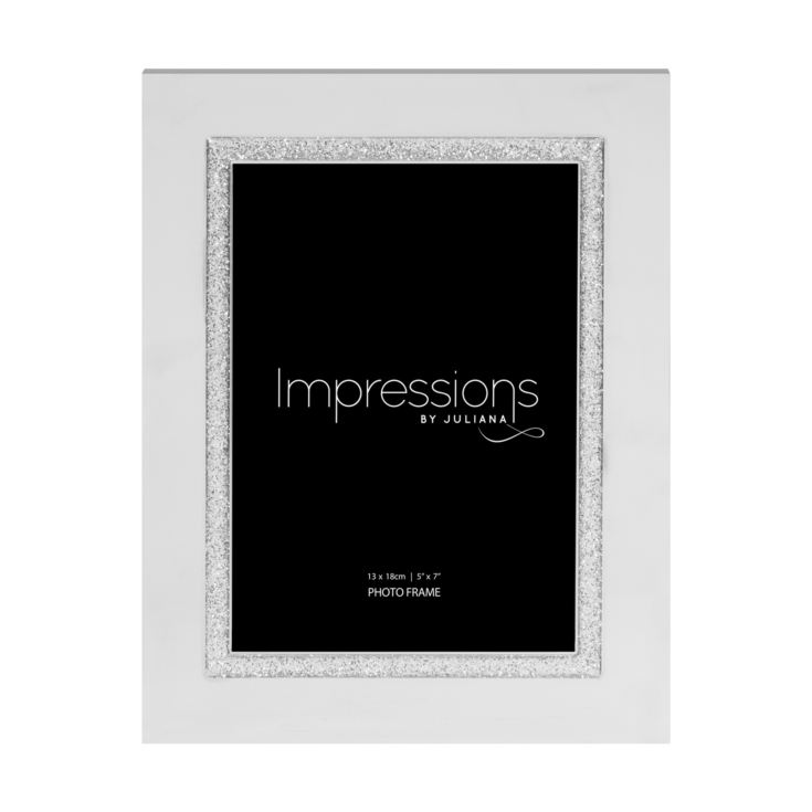 "5"" x 7"" - Impressions Silver Plated Glitter Photo Frame product image"