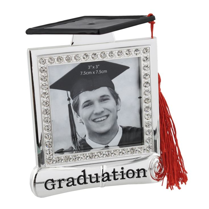 "3"" x 3"" - Graduation Photo Frame with Crystals and Tassel product image"