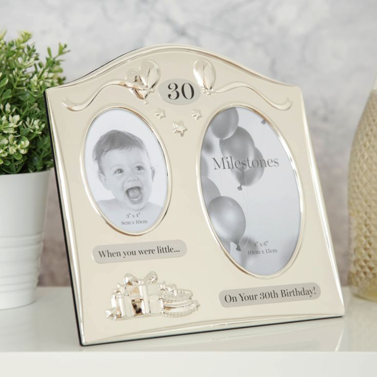 Milestones 2 Tone Silver Plated Double Birthday Frame - 30 product image