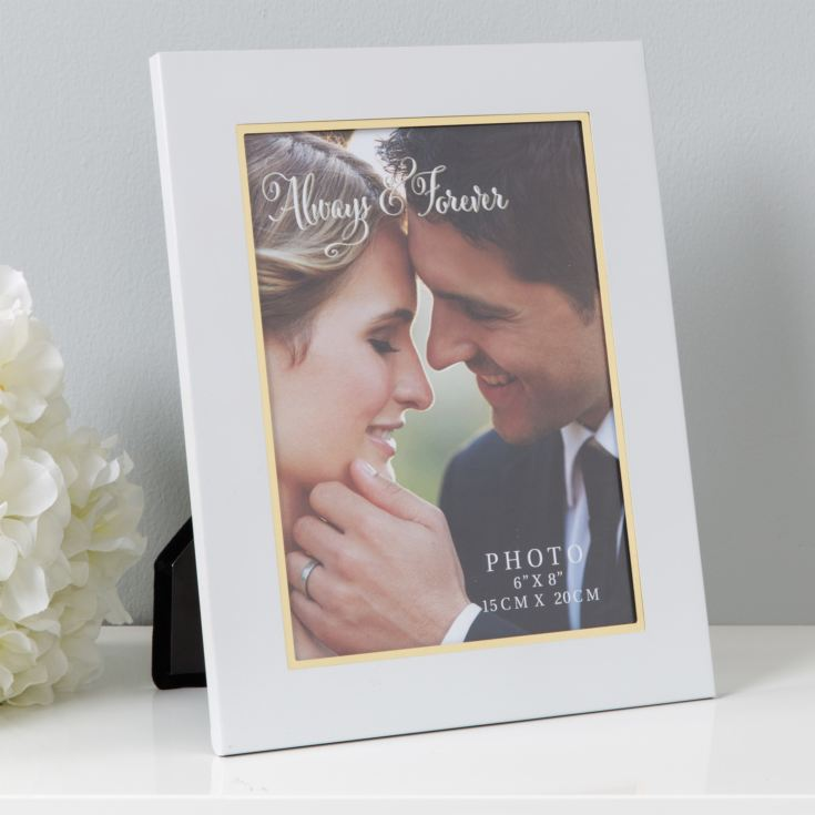 "6"" x 8"" - Always & Forever White Aluminium Photo Frame product image"