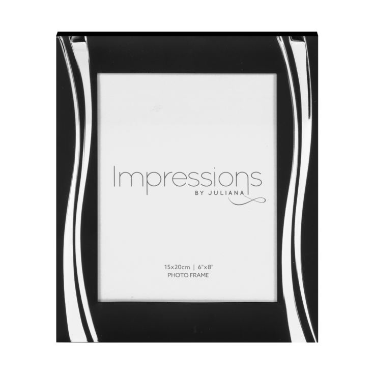 "6"" x 8"" - Impressions Black Photo Frame with Silver Waves product image"