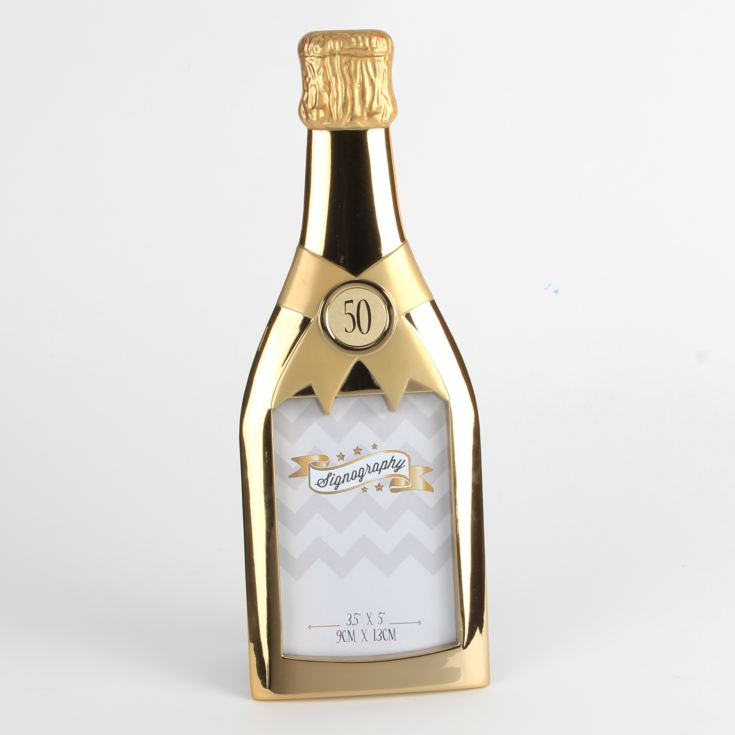 "3.5"" x 5"" - Signography Gold Champagne Bottle Frame - 50th product image"