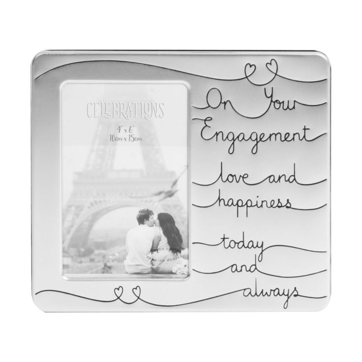 "4"" x 6"" - Engagement Satin Silver Plated Photo Frame product image"