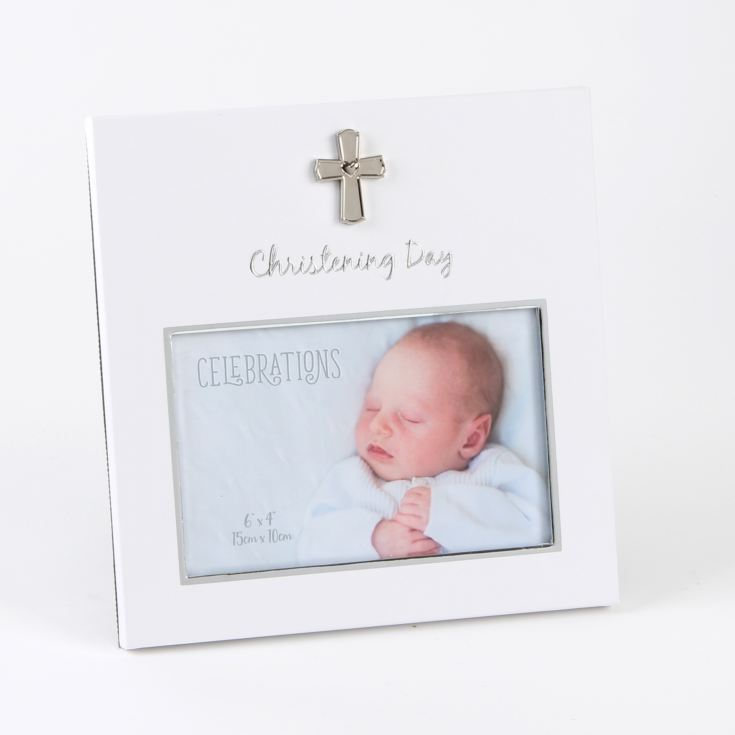 "6"" x 4"" - White with Silver Icon Christening Day Frame product image"