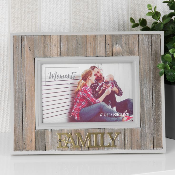"6"" x 4"" - Moments Wood Plank Photo Frame - Family product image"