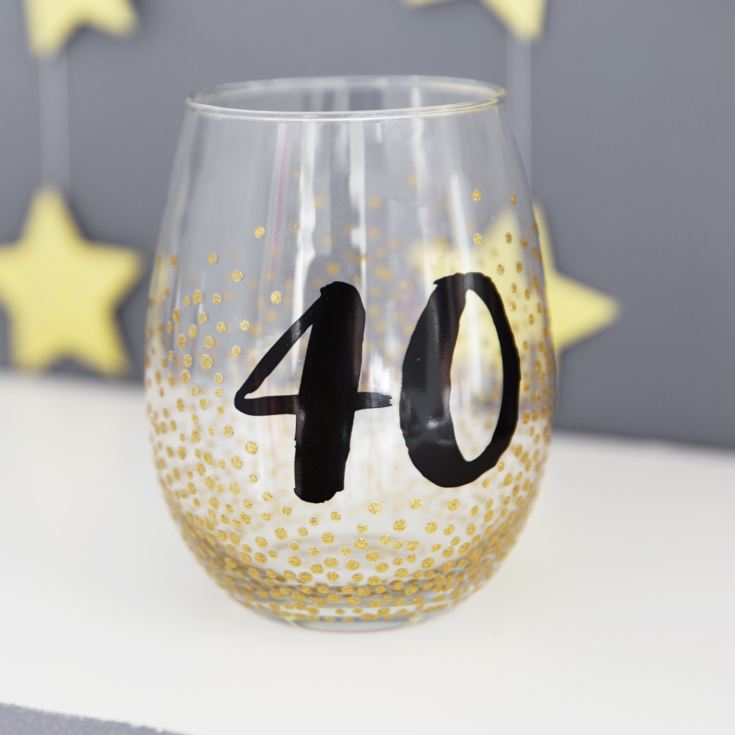 Signography Stemless Wine Glass with Gold Glitter - 40 product image