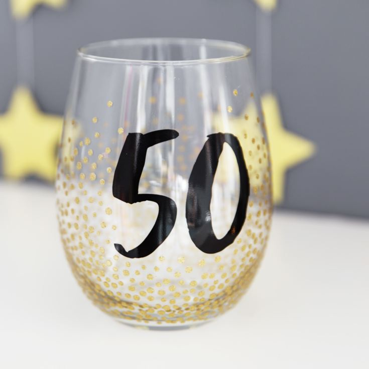 Signography Stemless Wine Glass with Gold Glitter - 50 product image