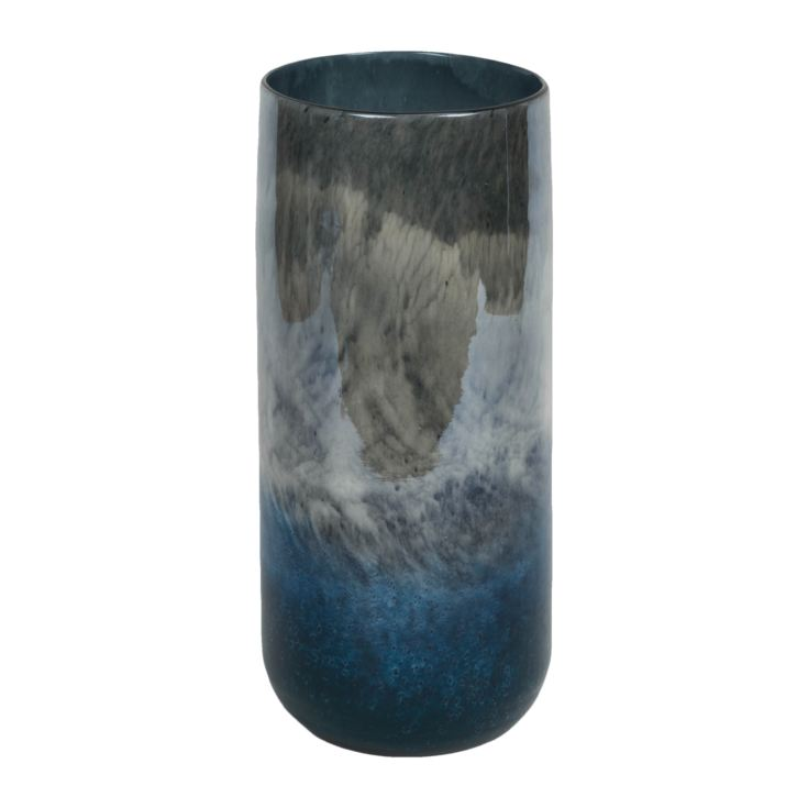 Objets d'Art Glass Vase Blue Marble Effect 31cm product image