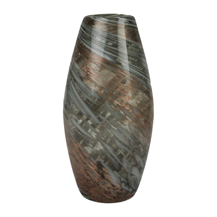 Objets d'Art Glass Vase Grey Marble Effect 30cm product image