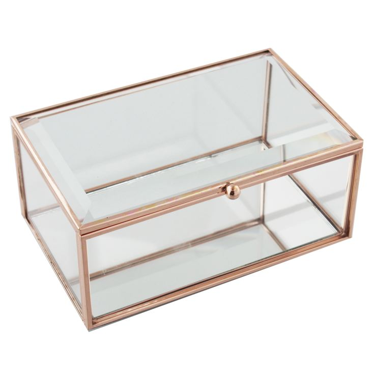 Hestia Glass Rose Gold Jewellery Box - Large product image