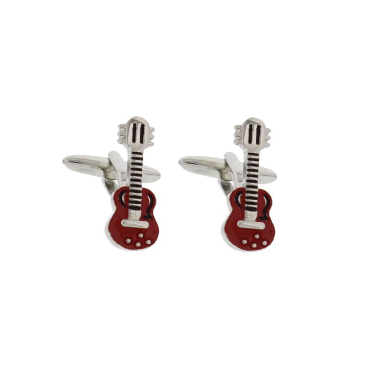 Musicology Red Epoxy Cufflinks Guitar product image